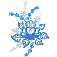 Blue Flowers Ornaments Machine Embroidery Designs set