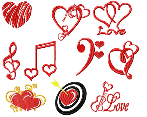 Musical Love 10 Machine Embroidery Designs 4x4