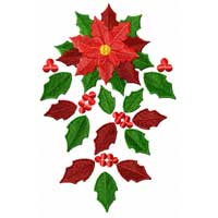Christmas Motifs: Poinsettia Machine Embroidery Design