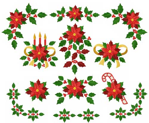 Christmas Poinsettia Machine Embroidery Designs set