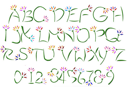 Flowers Alphabet Font Machine Embroidery Designs 4x4