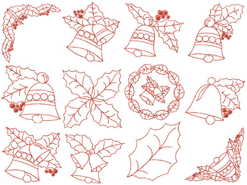 Bells And Holly Leaves Redwork 12 Machine Embroidery Designs set 4x4
