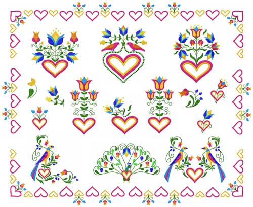 Birds, Hearts and Flowers  Machine Embroidery Designs set