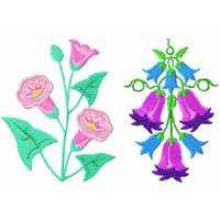 Bluebells Flowers Machine Embroidery Designs set 4x4