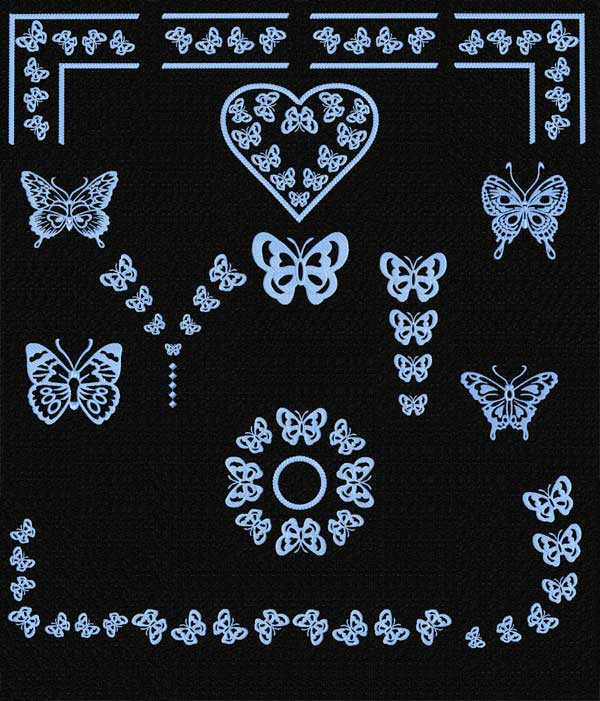 Butterfly Machine Embroidery Designs set