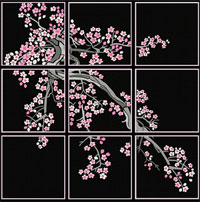 Cherry Blossom Quilt blocks Machine Embroidery Designs set