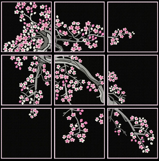 Cherry Blossom Quilt Blocks Machine Embroidery Designs