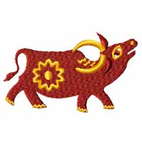 Chinesse Zodiac Machine Embroidery Design: Buffalo