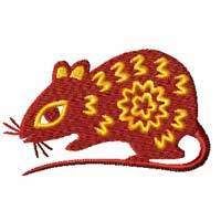 Chinesse Zodiac Machine Embroidery Design: rat