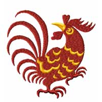 Chinesse Zodiac Machine Embroidery Design: Rooster