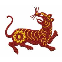 Chinesse Zodiac Machine Embroidery Design: Tiger