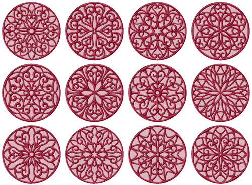 Lacy Circles 12 Machine Embroidery Designs 4x4