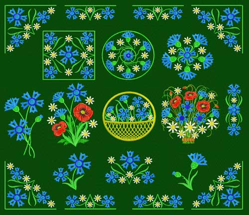 cornflower Machine Embroidery Designs set