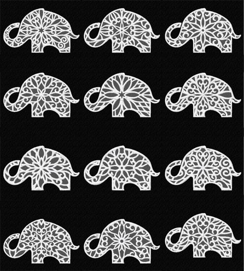 Lacy Elefants 12 Machine Embroidery Designs set 5x7