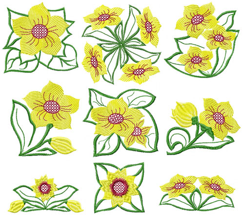 Fantasy Flowers Machine Embroidery Designs 4x4