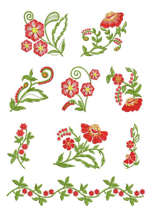 Fantasy Flowers Machine Embroidery Designs 5x7