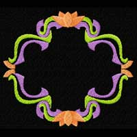 Flowers and Ribbons Frame Machine Embroidery Design