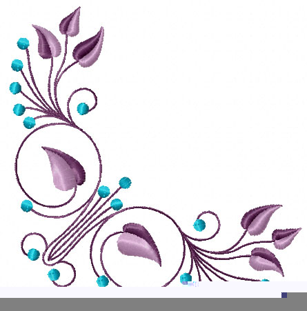 Corner #1: Elegant Flowers Ornament Machine Embroidery Design