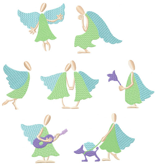 Funky Angels 7 Machine Embroidery Designs set 4x4