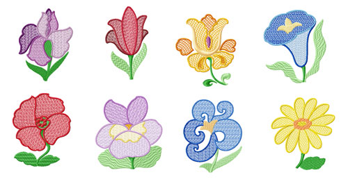4 machine embroidery designs flowers for Garden embroidery designs free
