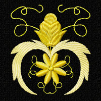 Gold Flowers Ornaments Machine Embroidery Designs set 4x4