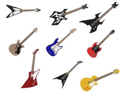 Electric Guitar 9 Machine Embroidery Designs