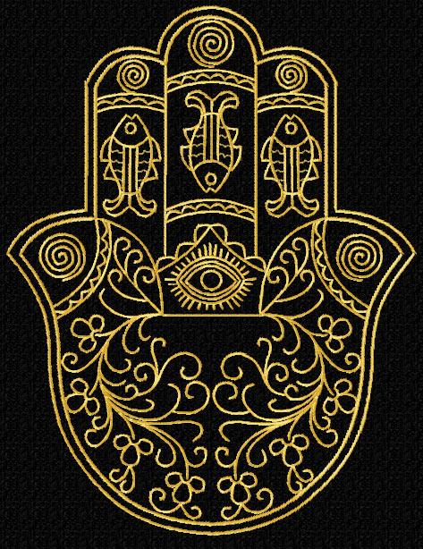 gold lacy hamsa machine embroidery designs set corners ebay. Black Bedroom Furniture Sets. Home Design Ideas