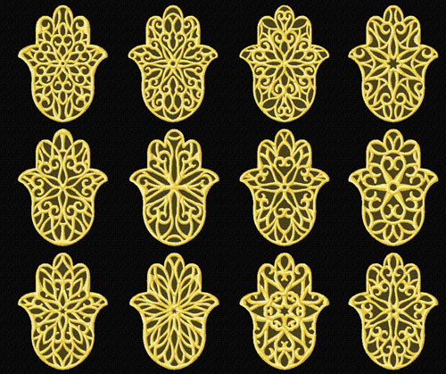 Lacy Hamsa 12 Machine Embroidery Designs set 4x4