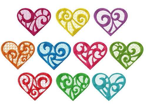 Elegant Hearts 10 Machine Embroidery Designs set 4x4