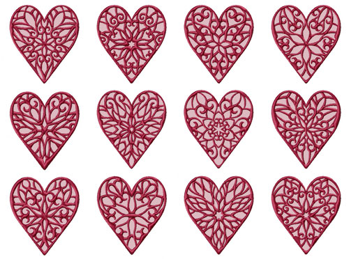 Lacy Hearts 12 Machine Embroidery Designs set 4x4