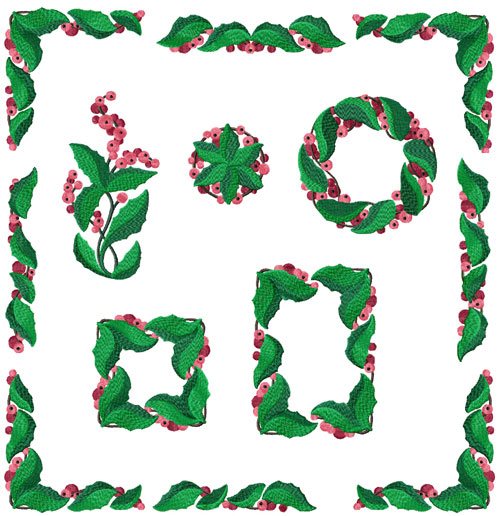Holly Berry 10 Machine Embroidery Designs 5x7