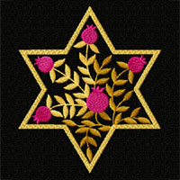 Gold Stars of David Machine Embroidery Designs set 5x7