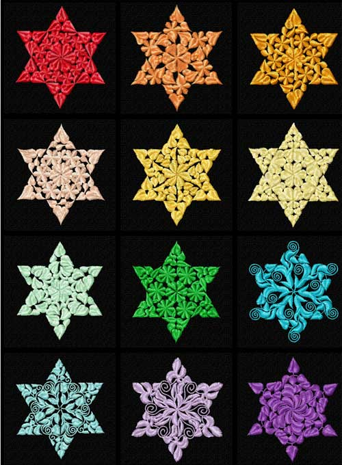 Floral Ornaments 12 Stars of David Machine Embroidery Designs 4x4