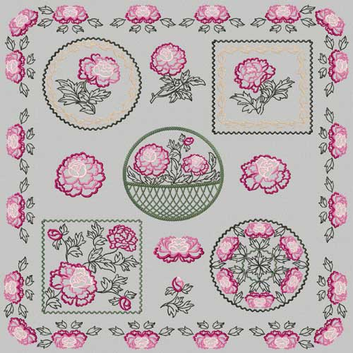 Chinese Peony Machine Embroidery Designs