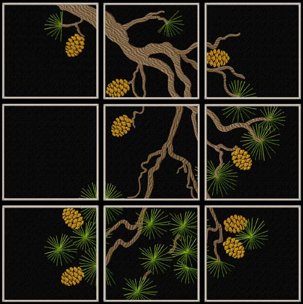 Pine Branch Quilt Blocks Machine Embroidery Designs 5x7