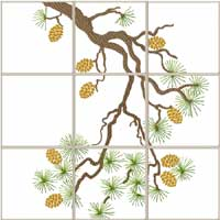 Pine Branch Quilt blocks Machine Embroidery Designs set