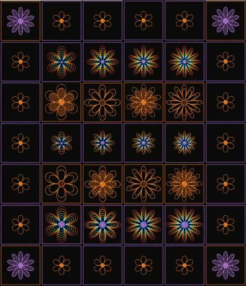 Rainbow Flowers Quilt blocks 22 Machine Embroidery Designs 5x5