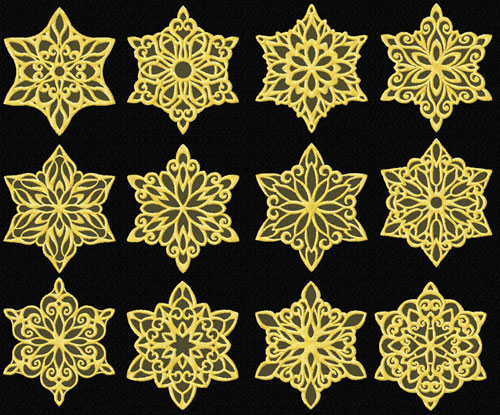 Gold Snowflakes Machine Embroidery Designs