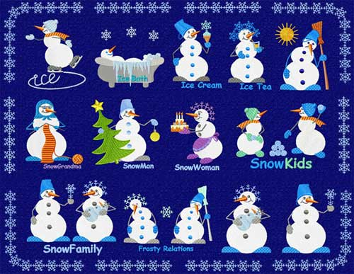 Christmas Snowman Machine Embroidery Designs set