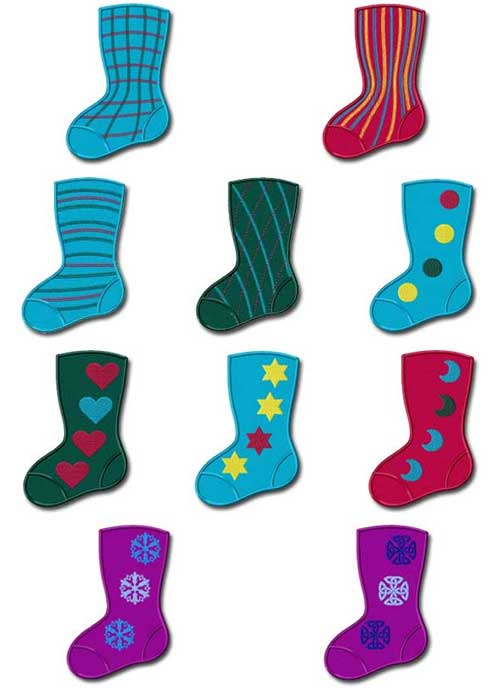 Christmas Stockings 10 Machine Embroidery Designs