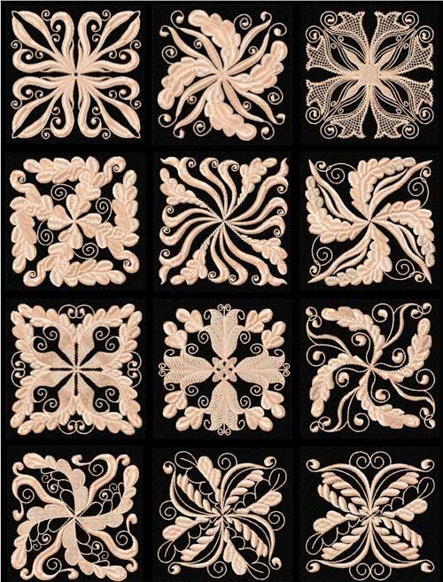Floral Motifs 12 Quilt Blocks Machine Embroidery Designs 4x4