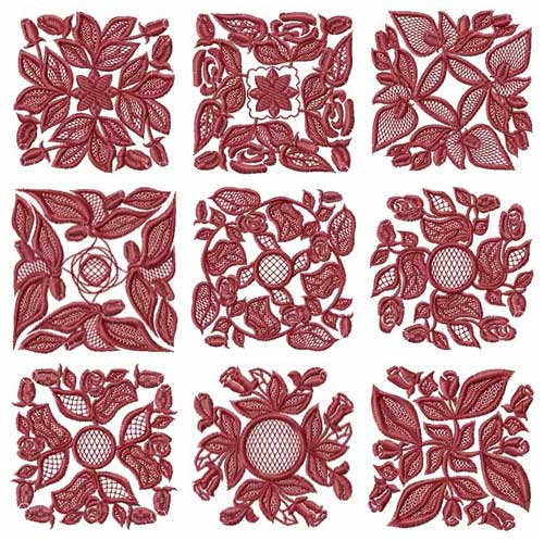 Roses Motifs Quilt Blocks Machine Embroidery Designs set 4x4