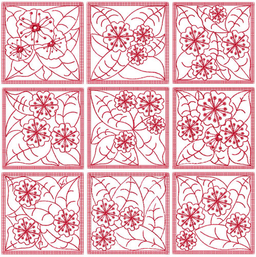 Redwork Flowers 9 Quilt Blocks Embroidery Designs 4x4