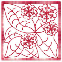 Redwork Flowers 9 Quilt Blocks Embroidery Designs 4x4