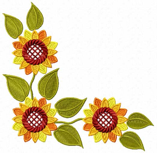 Click Here To See Real Size Sunflower Embroidery Design