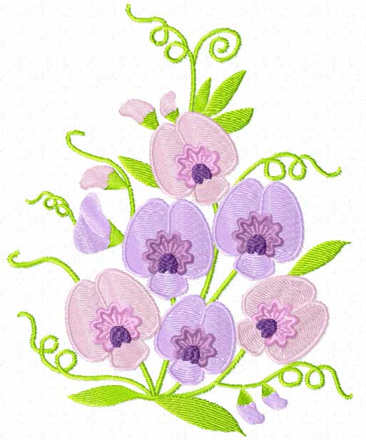 4 Hobby Machine Embroidery Designs Flowers Sweet Pea