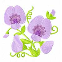 Free Sweet Pea Flowers Machine Embroidery design