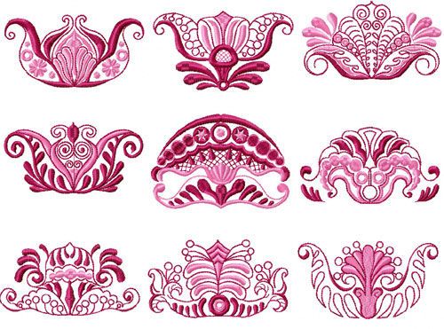 Vingettes 9 Machine Embroidery Designs set 4x4
